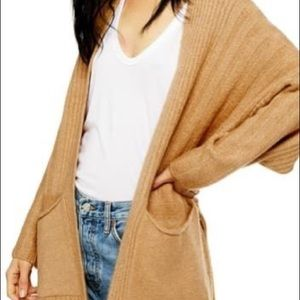 NWT TopShop Long Oversized Cardigan In Camel